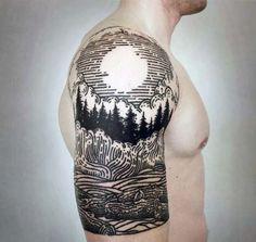 Nature Pine Tree With Sun Woodcut Guys Tattoos Half Sleeve