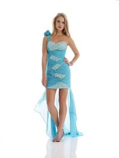 One Shoulder High Low Blue Chiffon Sheath Column Cocktail Dress