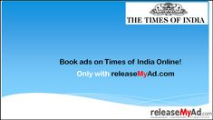 Now book your Times of India Newspaper advertisement online with online ad booking portal of releaseMyAd without extra cost. Newspaper Advertisement, Advertising, Ads, India Online, Times Of India, Books Online, Portal