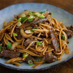 Chef Recipes, Kitchen Recipes, Asian Recipes, Cooking Recipes, Oriental Recipes, Mongolian Beef Noodles Recipe, Mongolian Beef Recipes, Beef Flank Steak
