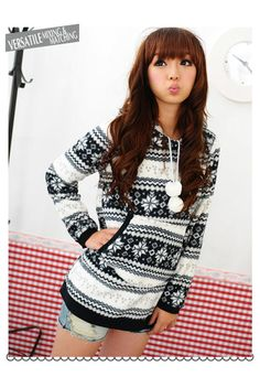 YESSTYLE: 59 Seconds- Nordic Print Hooded Fleece Pullover (Black and White - One Size)