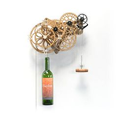 Drinkitime, light oak stained wall art clock that's themed for wine lovers