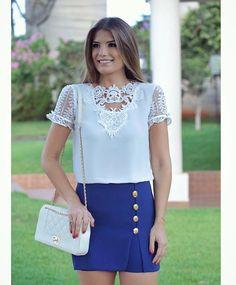Meu tipo de look  esse é todo da loja @santolookstore  Short saia com blusa de renda! Já disponível no site www.santolookstore.com.br