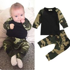 Cute Camouflage Newborn Baby Boys Kids T-shirt Top Long Pants Army Green Baby Boys Clothing Outfit Clothes Set – Kid Shop Global – Kids & Baby Shop Online – baby & kids clothing, toys for baby & kid – Bebek ve çocuk. Camo Outfits, Baby Boy Outfits, Kids Outfits, Spring Outfits, Dress Outfits, Camouflage T Shirts, Camouflage Clothing, Camouflage Outfit, Camouflage Baby