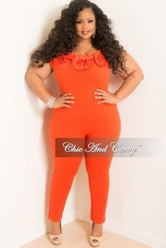 249459fd56e New Plus Size Jumpsuit with Top Ruffle in Orange – Chic And Curvy Plus Size  Jumpsuit