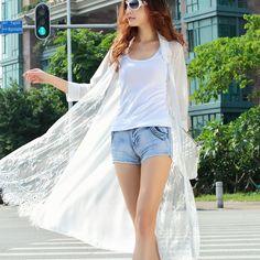 2015 женщин с длинными дизайн шифон лоскутная кружева летнее солнце защитная одежда кардиган рубашка защита от солнца защита от солнца купить на AliExpress