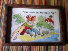 "Think you'll get any today pal? old funny tray hang on the wall or use as a tray 10"" by 7"" by stockintrade on Etsy"