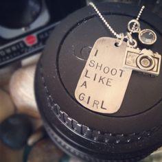 I Shoot Like A Girl Sterling Silver Pendant and Camera Charm. $69.00, via Etsy.