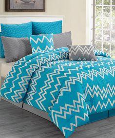 Blue Devin Flocking Overfilled Comforter Set