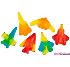 "Gummy Jet Airplanes: 5LB Bag  The World's fastest Air Force gummies look just like real jet airplanes. In assorted colors and flavors, these ""sound-breaking"" gummy candies are lots of fun as they nose dive into your mouth!  Look for these amazing military aircraft:  SR-71 Blackbird  B-2 Spirit Stealth Bomber  F/A-22 Raptor  F-117 Nighthawk Stealth Fighter  F-15 Eagle  F/A-18 Hornet"