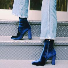 Prep for fashion week by adding a touch of velvet with boots like the EDIT.  Shop velvet shoes from our link in bio now