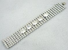 Weiss Wide Rhinestone Bracelet - Garden Party Collection Vintage Jewelry