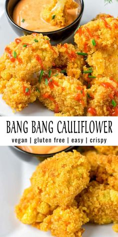 This Bang Bang Cauliflower is crispy and easy to make. Perfect flavor match between spicy and sweet. A keeper that the whole family will love and no one could tell it is vegan. dinner for 6 Bang Bang Cauliflower [vegan] - Contentedness Cooking Tasty Vegetarian Recipes, Vegan Dinner Recipes, Healthy Recipes, Veggie Recipes, Whole Food Recipes, Chicken Recipes, Cooking Recipes, Cooking Eggs, Vegetarian Cooking