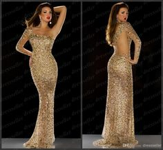 Cheap Wholesale - Discount 2014 Saudi Arabic Dubai Style One Shoulder Long Sleeve Mermaid Gold Sequins Rhinestones Beaded Gorgeous Prom Dresses Evening Pageant Gowns Online with $339.0/Piece | DHgate