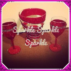 Gift set of a spiral effect and rim free red glitter :) including detail of a black diamonte trim. Perfect birthday/wedding gift www.facebook.com/sparktacularcreations xx