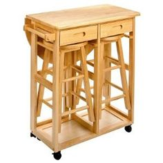 Winsome 89332 Space Saver Drop Leaf Breakfast Bar With Stools