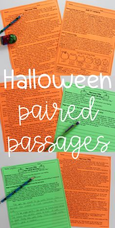 Halloween Reading Comprehension Passages with Writing Prompts, Main Idea Activity, Compare and Contrast, and comprehension questions!