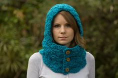 Teal+Hooded+Cowl+Bright+Blue+Crochet+Cowl+with+por+WellRavelled,+$42,00