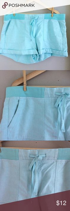 """LOFT Mint Twill Sorts Size 14 EUC LOFT Mint Twill Sorts Size 14 EUC. Mint/Robins Egg Blue, beautiful color!! Rubbed waistband with zipper and latch closure. Drawstring detail, cuffed hem. 3"""" inseam. 19"""" flat across waistband. Bundle for additional discounts and seller offers. LOFT Shorts"""