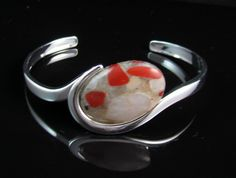 Puddingstone from Michigan silver bangle, cuff bracelet in silver plate 7125 by rwilberg on Etsy