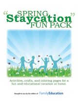 """Spring 'Staycation' Fun Pack  Print off our """"Staycation"""" booklet full of spring activities, crafts, coloring pages, and more to keep kids ..."""