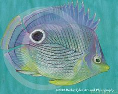 Purple Butterfly Fish Fine Art Print by BeckyTylerArt on Etsy