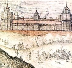 """Nonsuch Palace was built by Henry VIII as a """"hunting palace"""". Apparently it really was superior to any palace in Europe at the time, hence """"none such"""". Unfortunately, nothing remains of this palace today except contemporary drawings of it, such as this one."""