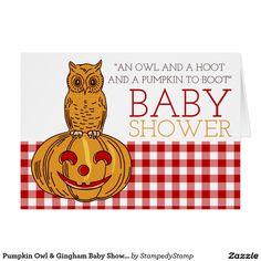 Pumpkin Owl & Gingham Baby Shower Invitation