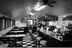 """Picture-A-Day (PAD n.2535) """"Trolley Diner""""  On our way home today we stopped and had breakfast at the coolest old diner. The food was great, and the owner, Blondie, was a great host and cook. If you're ever in Kingston, NY be sure to check out Blondie's Trolley Diner...  prints and more: http://www.dangrabbit.com/photography/pad/06_26_trolleydiner  Fineart photography old diner in black and white"""