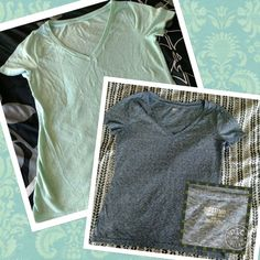 V-neck Tees Two V-neck tees.  They are both in great shape!  I don't think I ever wore the green one.   The blue one has only been worn a couple times.  Price is for both.  I also have them listed separately. Mossimo Supply Co. Tops Tees - Short Sleeve