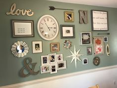Gallery wall. Anniversary and kids birthdates. Shadow boxes for preschool art. Wedding photos. Birth announcements. Family pets. Clothespin frames for frequent updates. A wall that evolves with our growing family.