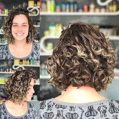 Curly Brown Bob With Blonde Highlights Side Curly Hairstyles, Short Blonde Haircuts, Men's Hairstyle, Medium Hairstyles, Wedding Hairstyles, Quince Hairstyles, 1920s Hairstyles, Short Brown Hair, Short Wavy Hair