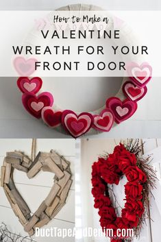 I need to make a valentine wreath for my front door! These are some cute ideas and they look easy, too. Time to decorate for Valentine's Day! Diy Valentines Day Wreath, Homemade Valentines, Valentine Box, Valentines Day Decorations, Valentine Day Crafts, Valentine's Day Printables, Valentine's Day Diy, Diy Wreath, Diy Craft Projects