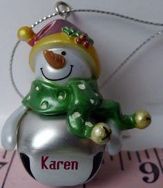 #KAREN  Jingle Bell GANZ Snowman Christmas Ornament