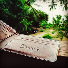 is getting some serious sun in this Join us! Slim Leather Wallet, Slim Wallet, Beach Office, Island Beach, Handmade Leather, Italian Leather, Dog Tag Necklace, Thailand, Card Holder