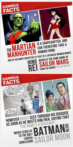 Martian Manhunter is Sailor Mars and Batman likes Sailor Moon!