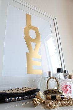 metallic gold love print for biz cards