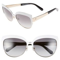 kate spade new york 'raelyn' 59mm cat eye sunglasses ($128) ❤ liked on Polyvore featuring accessories, eyewear, sunglasses, white, cateye glasses, metallic sunglasses, retro style sunglasses, retro sunglasses and cat eye sunglasses