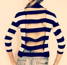 Trash To Couture: DIY Cutout Striped shirt