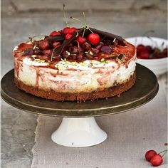 A delicious light summer cheesecake with a biscuit base & fresh cherry topping - full of flavour and lighter on calories as its made with homemade quark cheese.