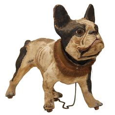 TALKING PAPIER MACHE FRENCH BULLDOG PULL TOY | From a unique collection of antique and modern toys at http://www.1stdibs.com/furniture/more-furniture-collectibles/toys/