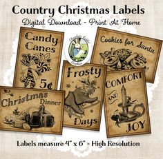 Vintage Country Farmhouse Primitive Prim Labels Digital Download Printable  DIY Tags Scrapbook Graphics Collage Sheet Clip Art Retro Images | Pinterest  ...