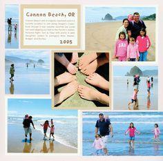 beach, scrapbooking, mosaic, grid, scrapbook layout, page, travel, vacation, Cannon Beach Oregon