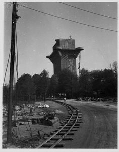 An abandoned flak tower in Vienna, Austria used to house anti-aircraft guns. 1945.