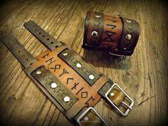 Viking Inspired Runic Leather Wrist Cuff by BeastmanCaravan