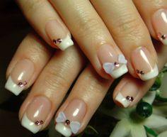 Sweet French Type Wedding Manicure sweet bows