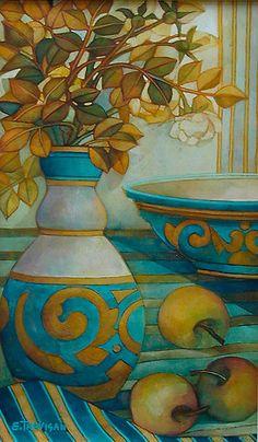 Elisabetta Trevisa. Via Kris. Love the Aquas and golds!