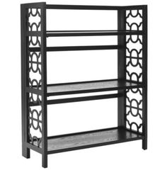 Three-Shelf Bookcase With Unique Carved Detailing Home Office Decor Black Finish