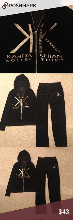 Kardashian black Valore jogging suit size small Kardashian black Valore jogging suit size small In very good condition The k in the gold glitter is a little wrinkled But that is part of the outfit Kardashian Kollection Pants Track Pants & Joggers