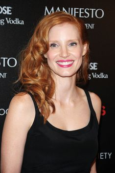 Jessica Chastain vibrant red hair color